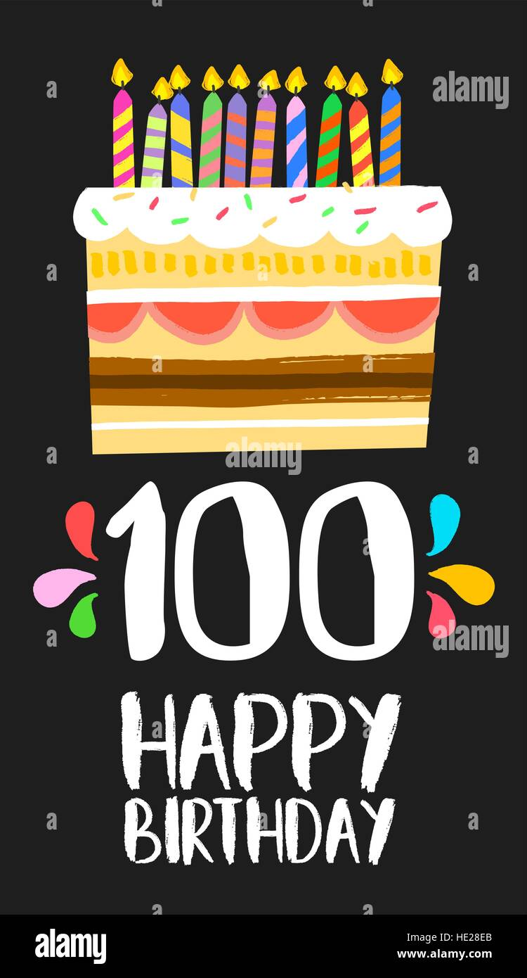 Happy birthday number 100, greeting card for one hundred years in fun art style with cake and candles. Anniversary - Stock Vector