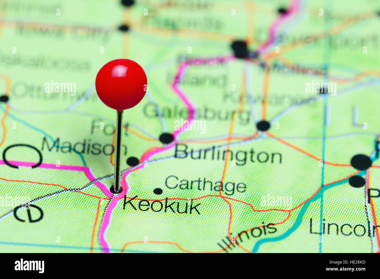 Keokuk Pinned On A Map Of Iowa Usa Stock Photo 129128481 Alamy