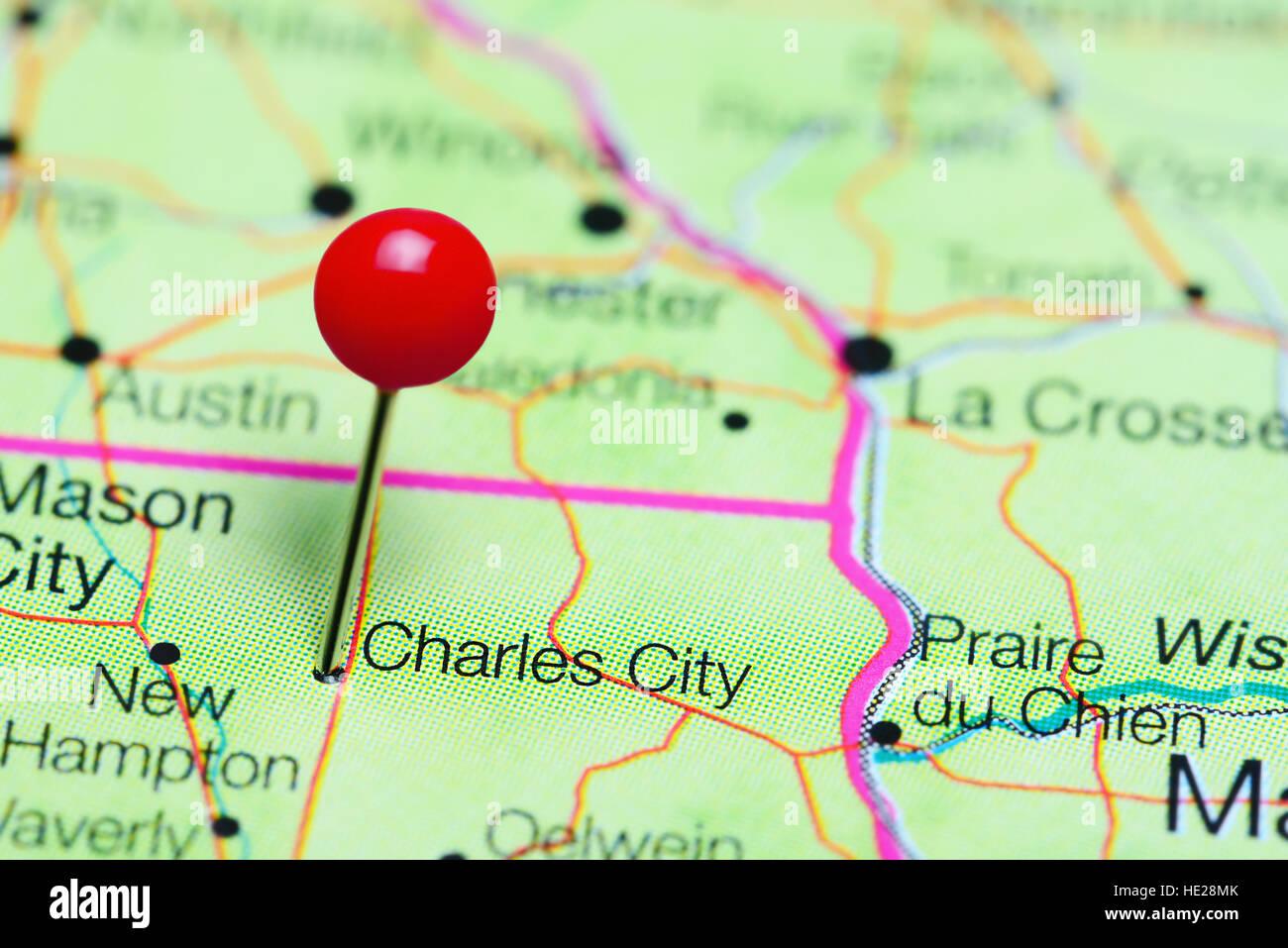 Charles City Pinned On A Map Of Iowa Usa Stock Photo 129128515 Alamy