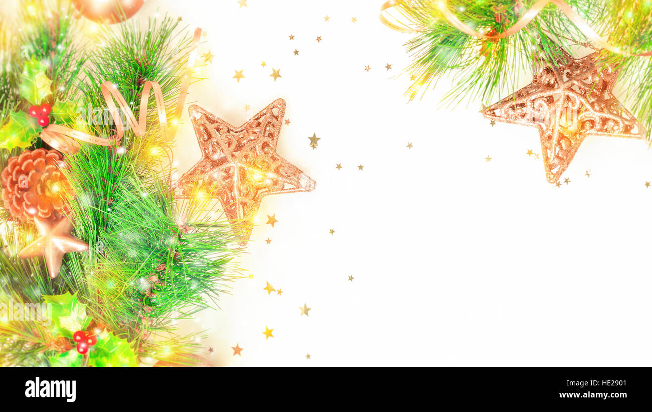 Christmas Decorative Border Over White Background Beautiful Festive