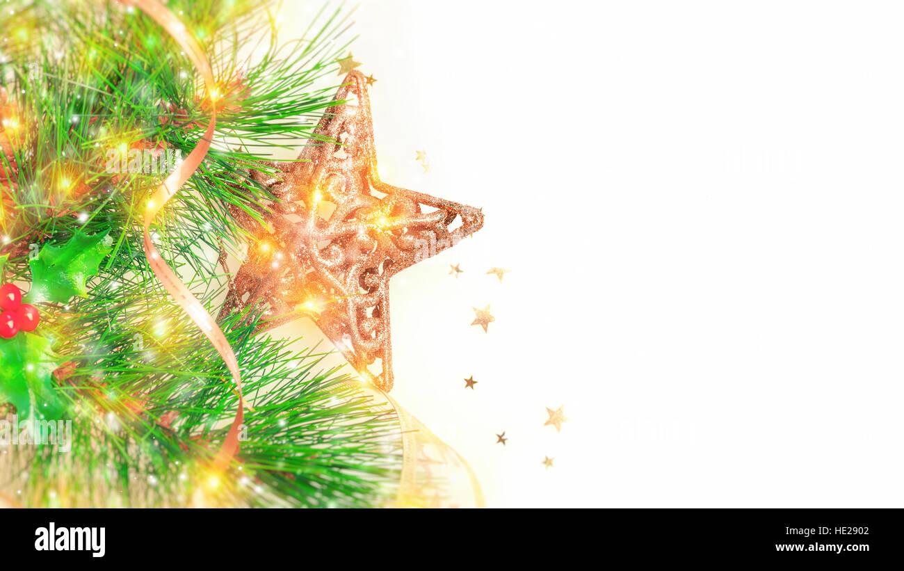 Beautiful Christmas border isolated on white background, festive ...