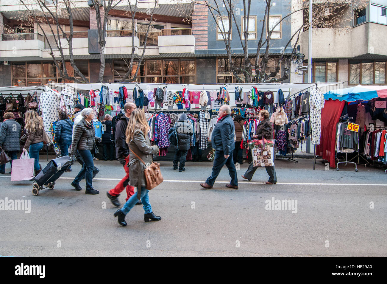 Street market in the city of Vic, Catalonia, Spain - Stock Image
