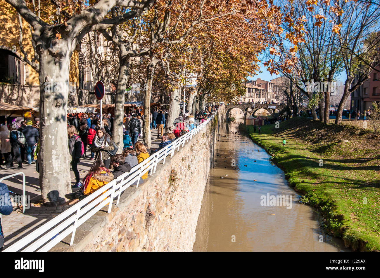 Group of people wlaking in the city of Vic, catalonia, Spain - Stock Image