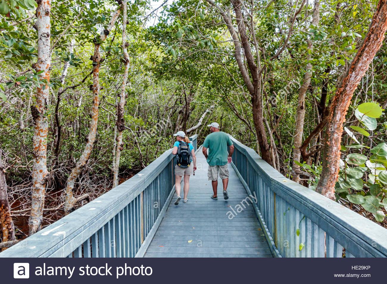 Sanibel Island Florida J. N. J.N. JN Ding Darling National Wildlife Refuge nature boardwalk couple Stock Photo