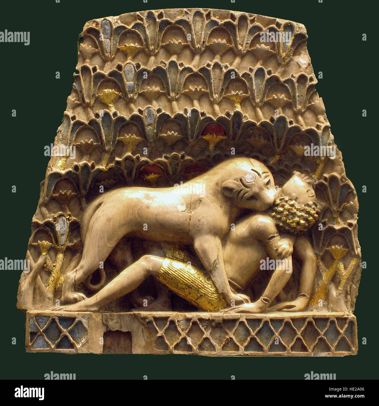 6013. Ivory plaque depicting a lioness attacking a boy. Nimrud, Mesopotamia, 899-700 BC. - Stock Image