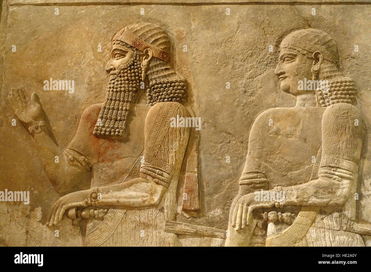 6022. King  Saragon II with guard, Assyria c. 716-713 BC. Relief from King Saragon's palace in Khorsabad (Iran) - Stock Image