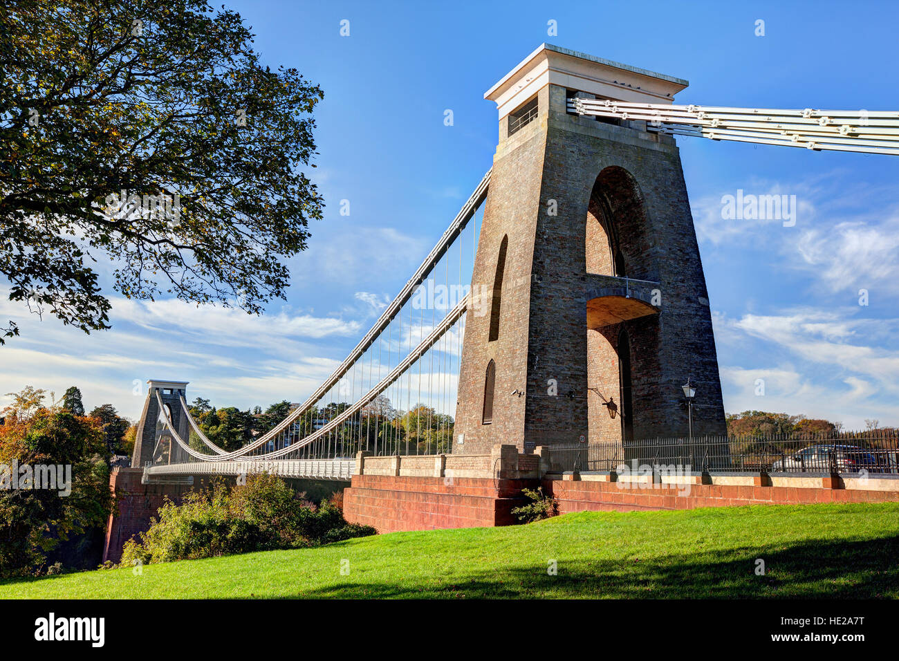 Daytime view of the Clifton Suspension Bridge in Bristol, England - Stock Image