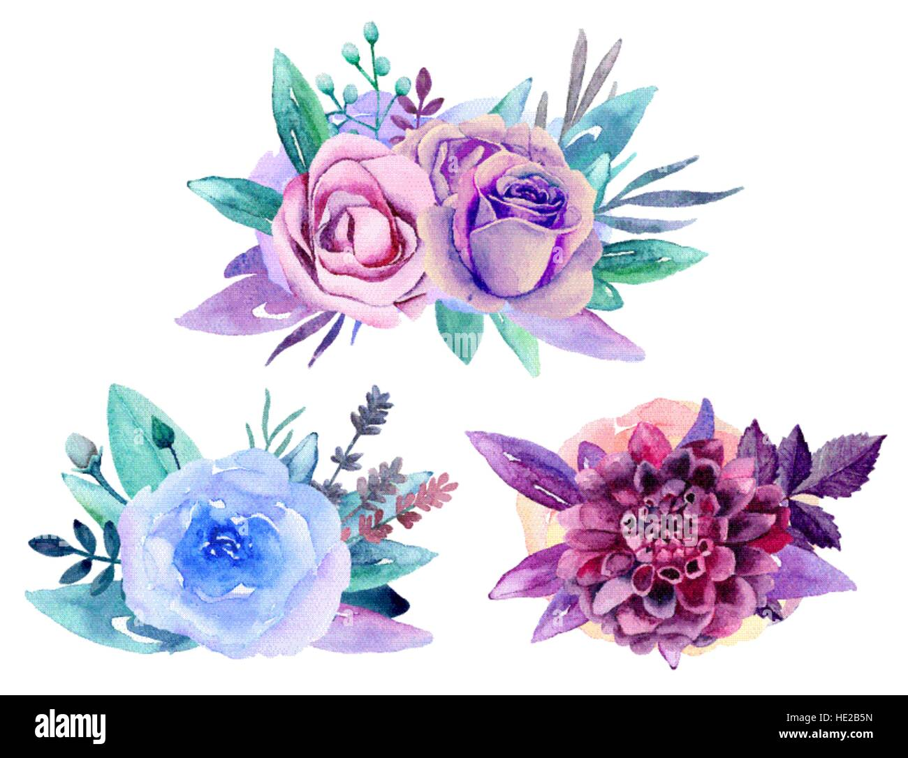 Purple Floral Bouquet Vector Clip Art Blue Watercolor Flowers Arrangement