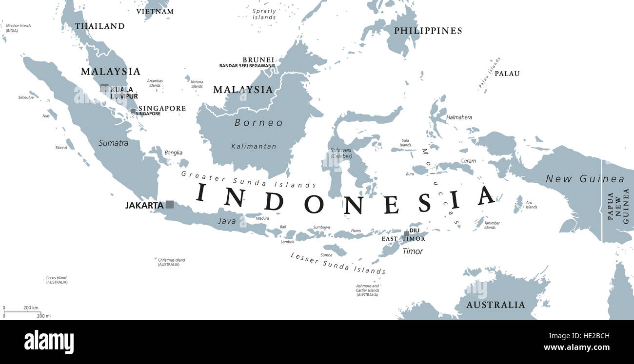 Indonesia Political Map With Capital Jakarta, Islands, Neighbor Countries  Malaysia, Singapore, Brunei, East Timor And Capitals.