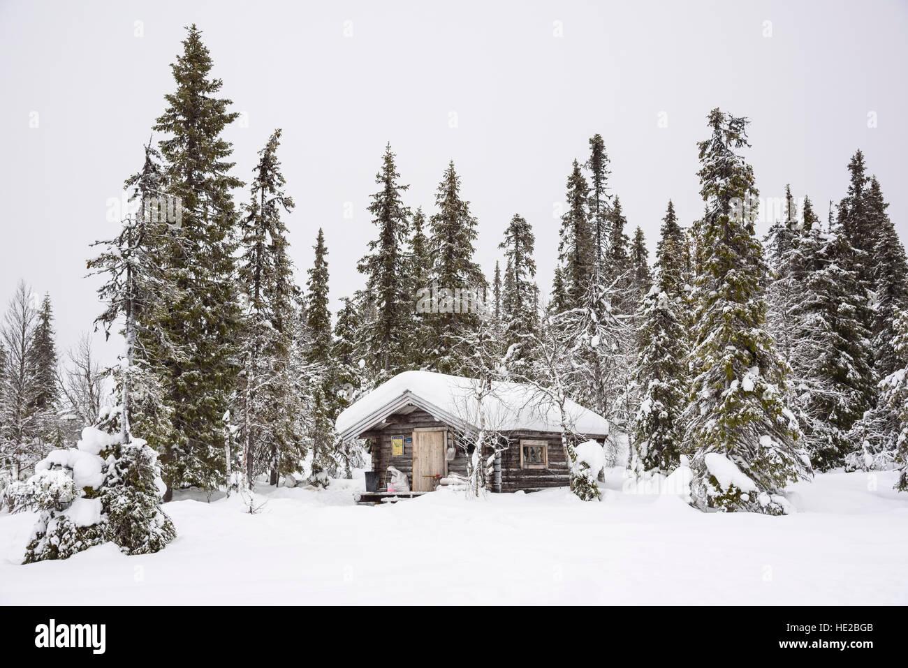 Typical wilderness log cabin in winter snow, Vindelfjällen, Sweden - Stock Image