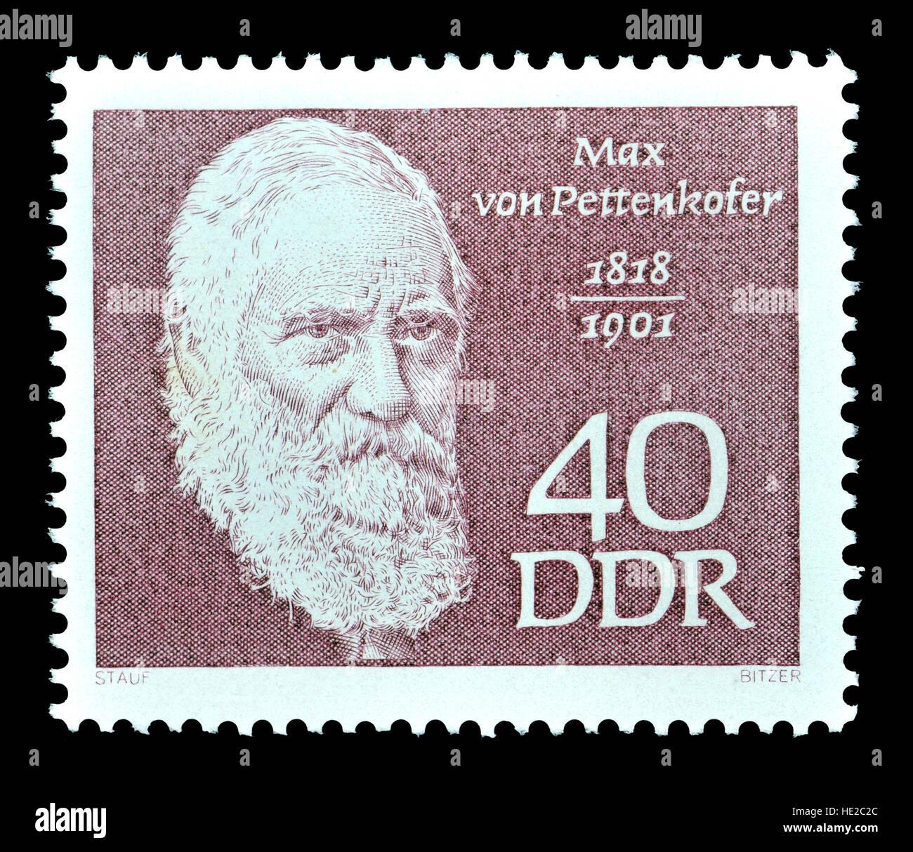 East German postage stamp (1968) : Max Joseph von Pettenkofer (1818 – 1901) Bavarian chemist and hygienist - Stock Image