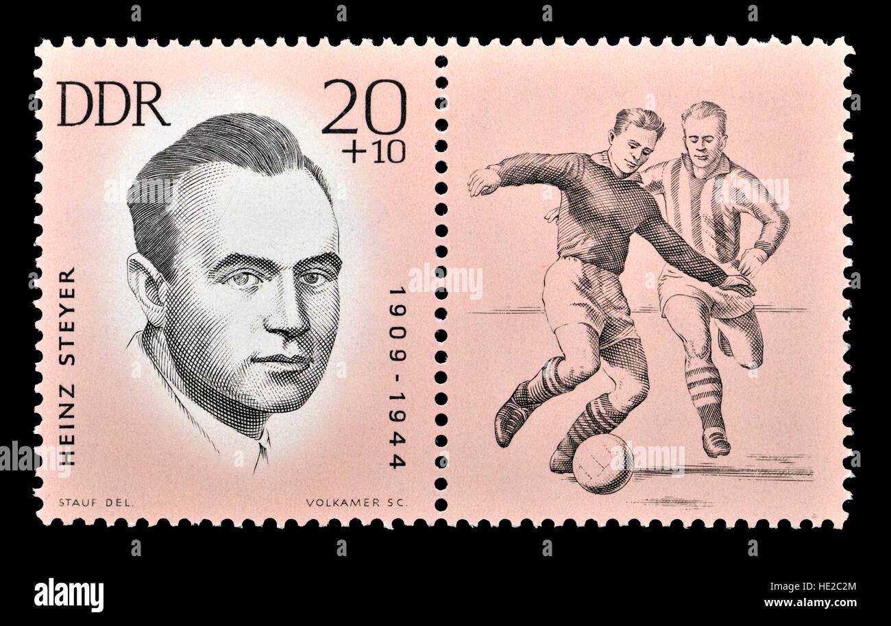 East German postage stamp (1963) : Heinz Steyer (1909 - 1944) German footballer and Communist resistance fighter - Stock Image
