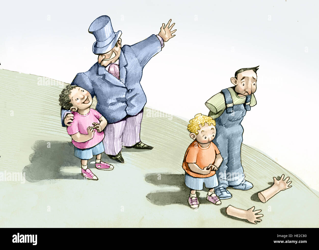 a rich parent offers a future to his son a poor parent loses his arms, can not give a future to his son - Stock Image