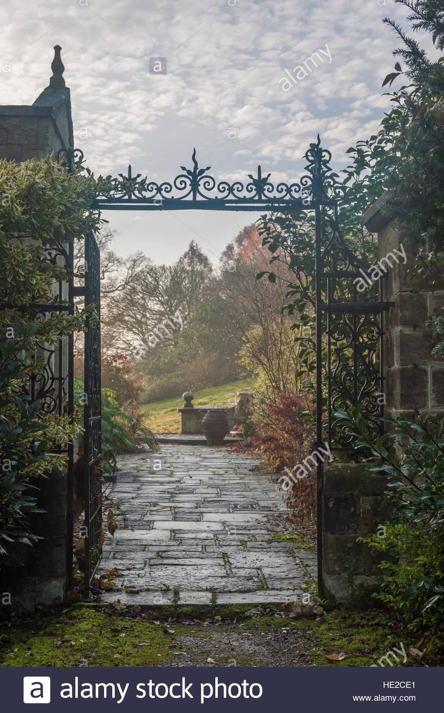 view through iron gate - Stock Image