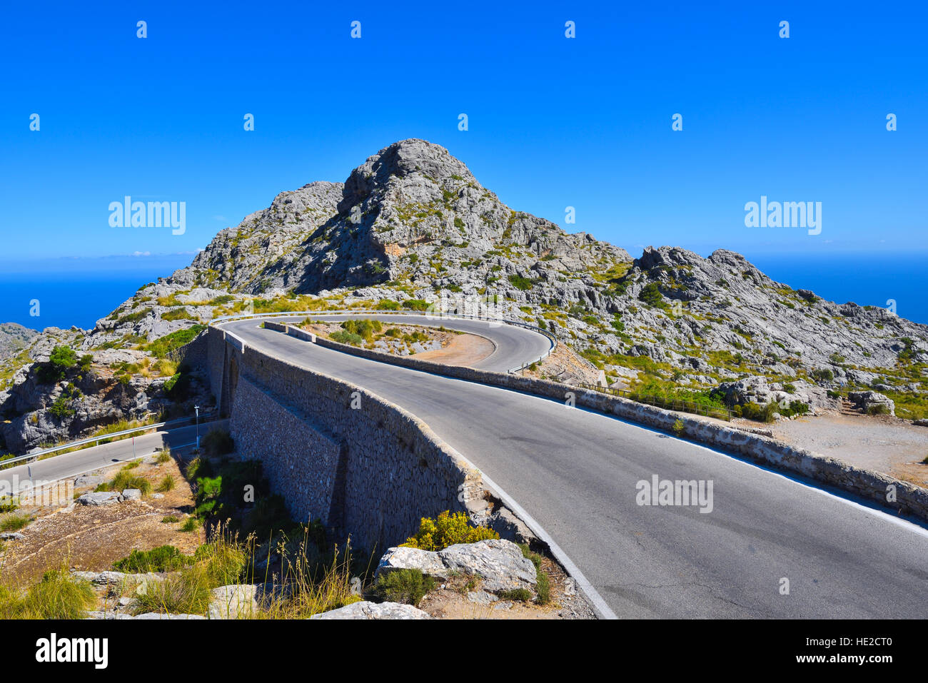The Spiral bridge on the mountain road to Sa Calobra on Majorca in Spain - Stock Image