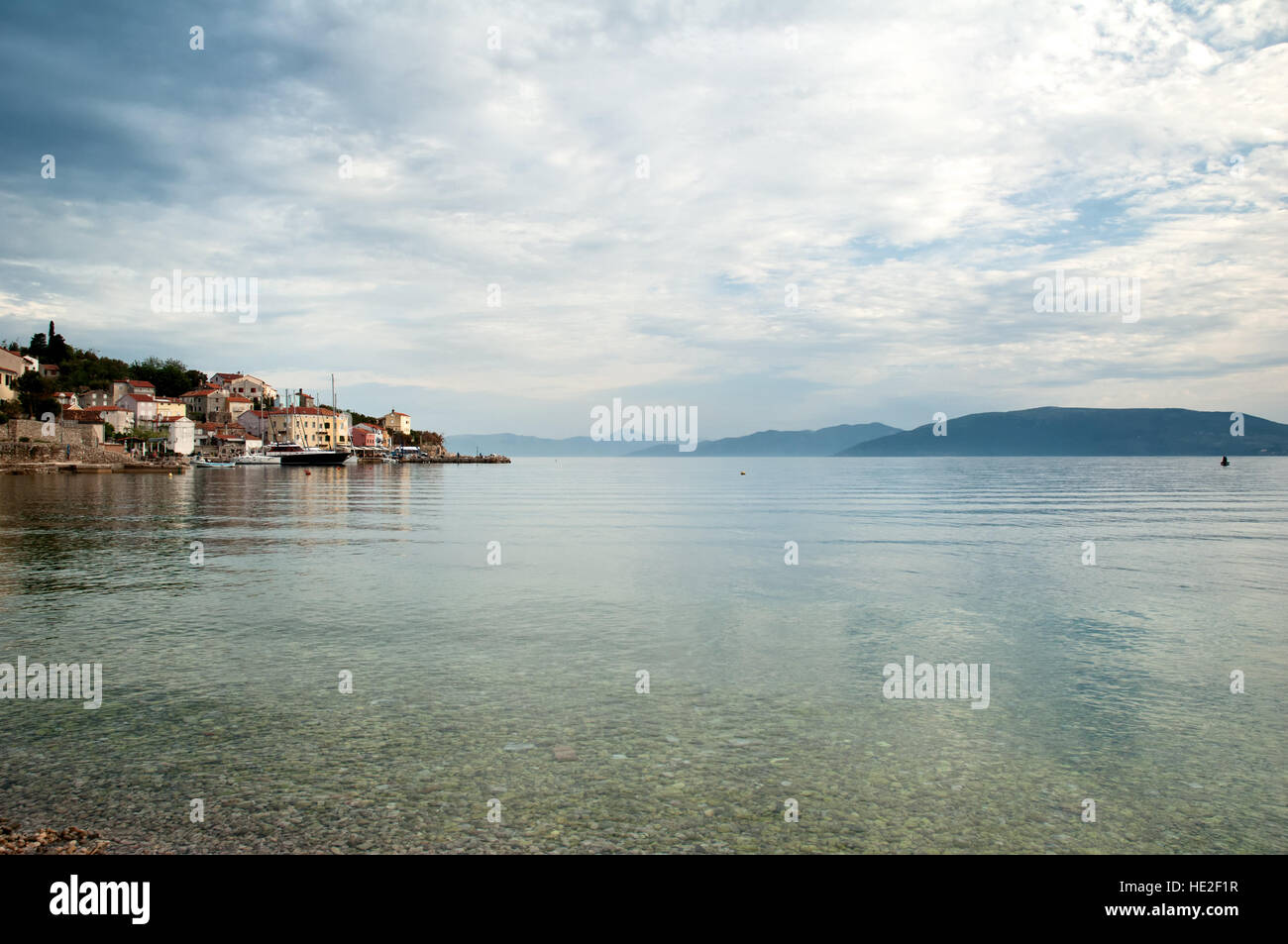Valun Village Port on the Island of Cres in Croatia Stock Photo