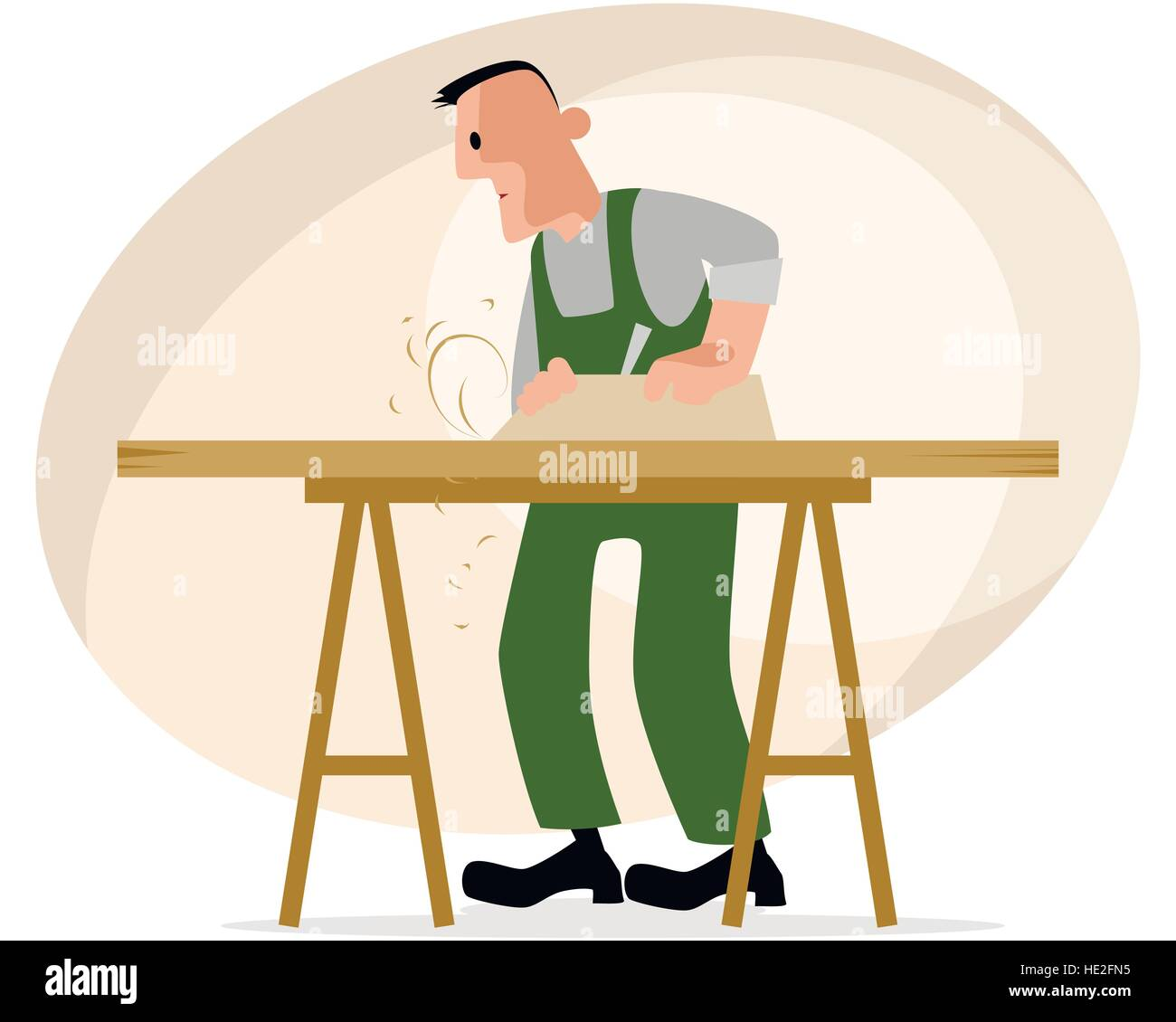 Vector illustration of a carpenter and crafting table - Stock Vector