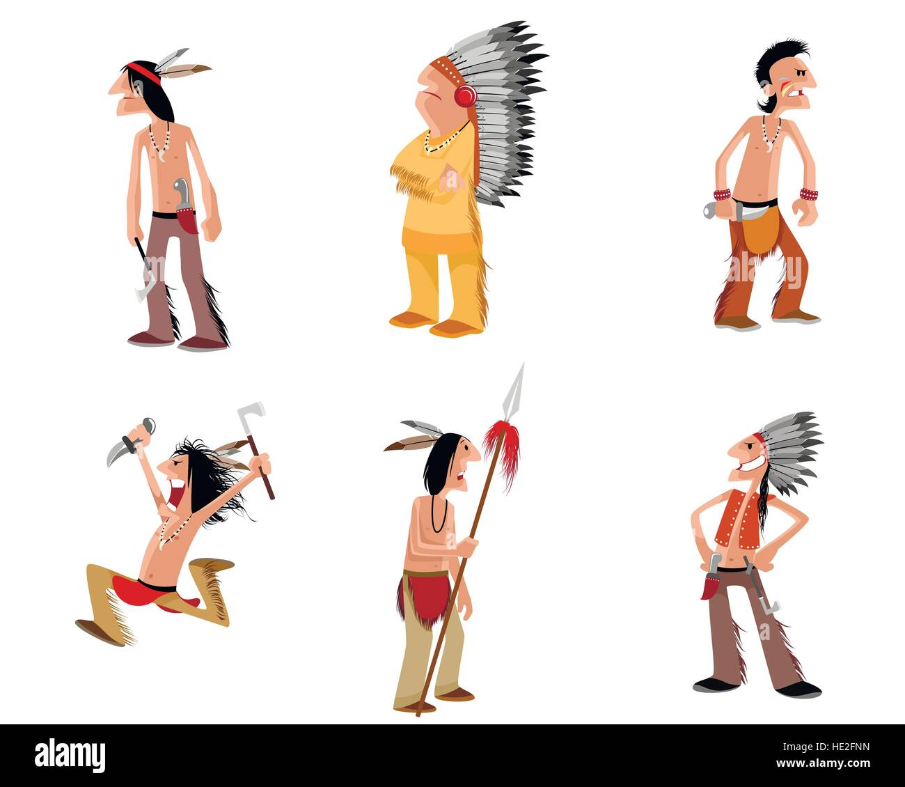 Vector illustration of a six indians set - Stock Image