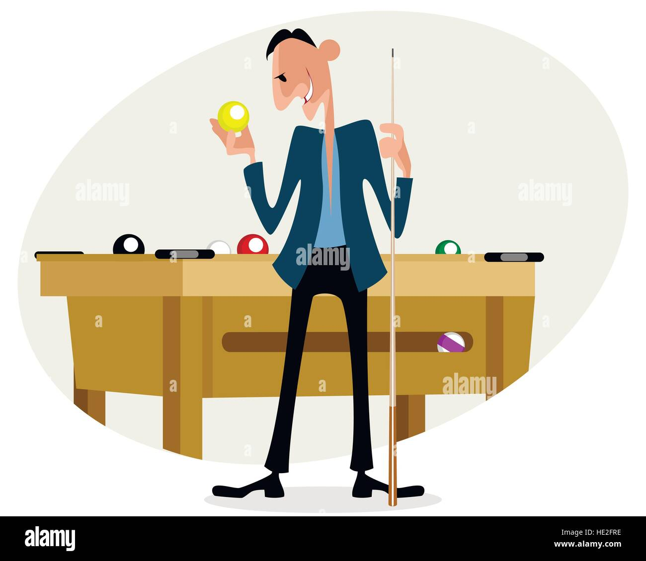 Vector illustration of a billiard player with cue - Stock Vector