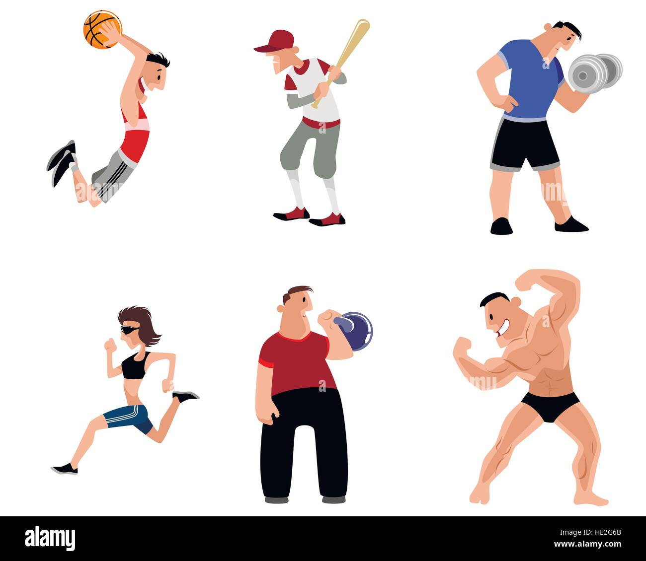 Vector illustration image of a six athletes set - Stock Vector