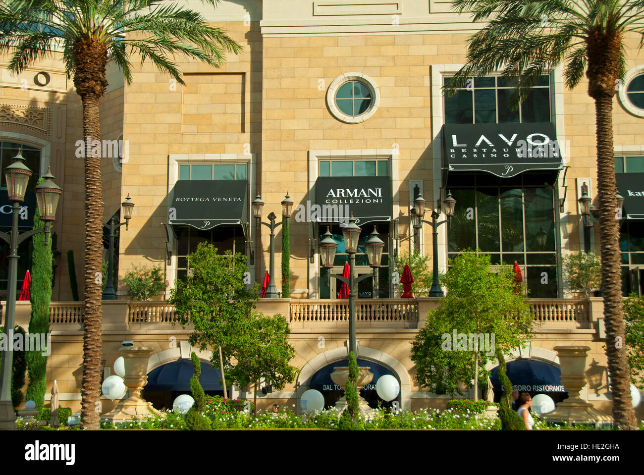 Typical upscale shops and restaurant along the strip in Las Vegas, Nevada - Stock Image