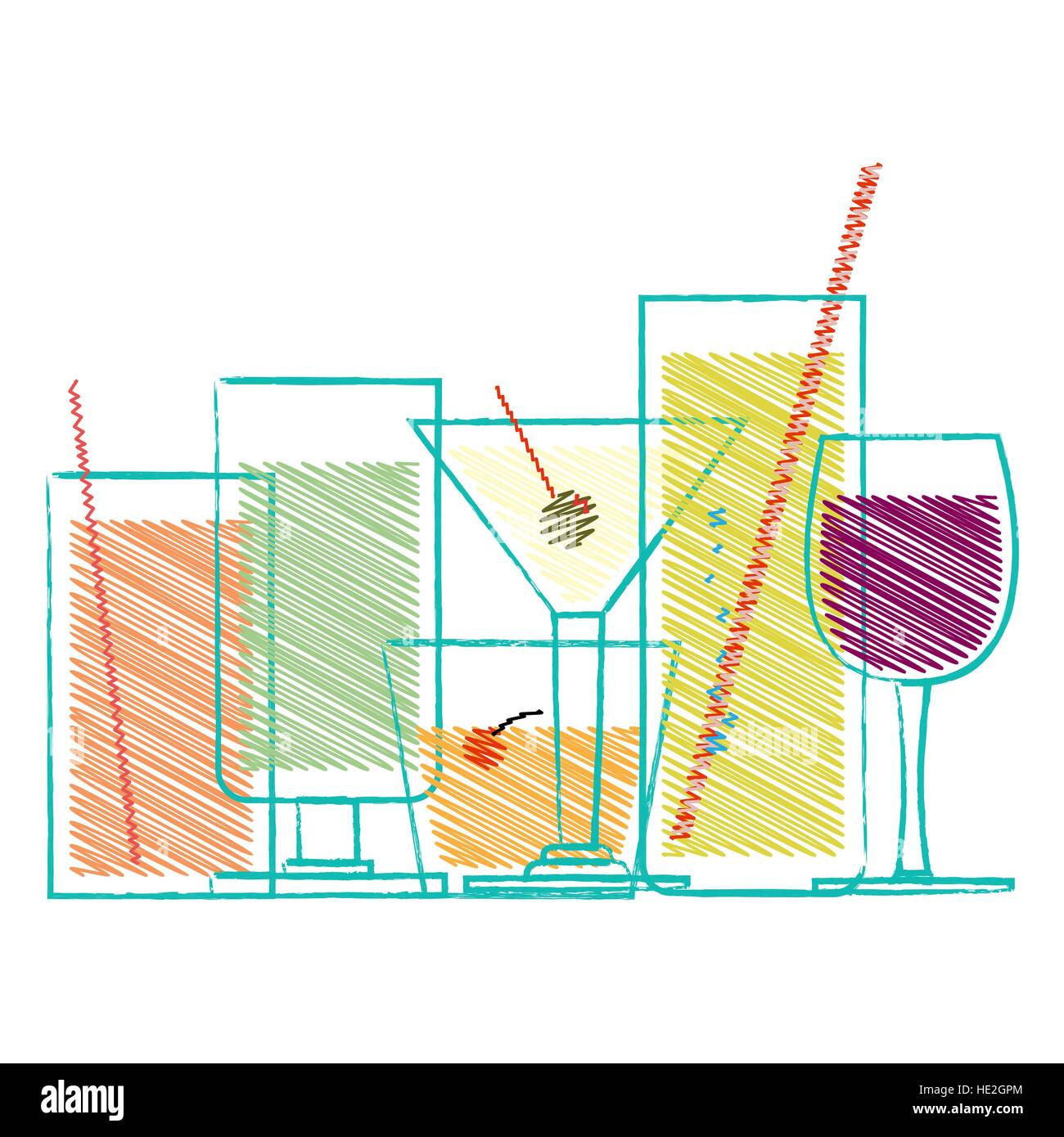 Alcohol drinks and cocktails in glasses decorative scribble set isolated vector illustration Stock Vector