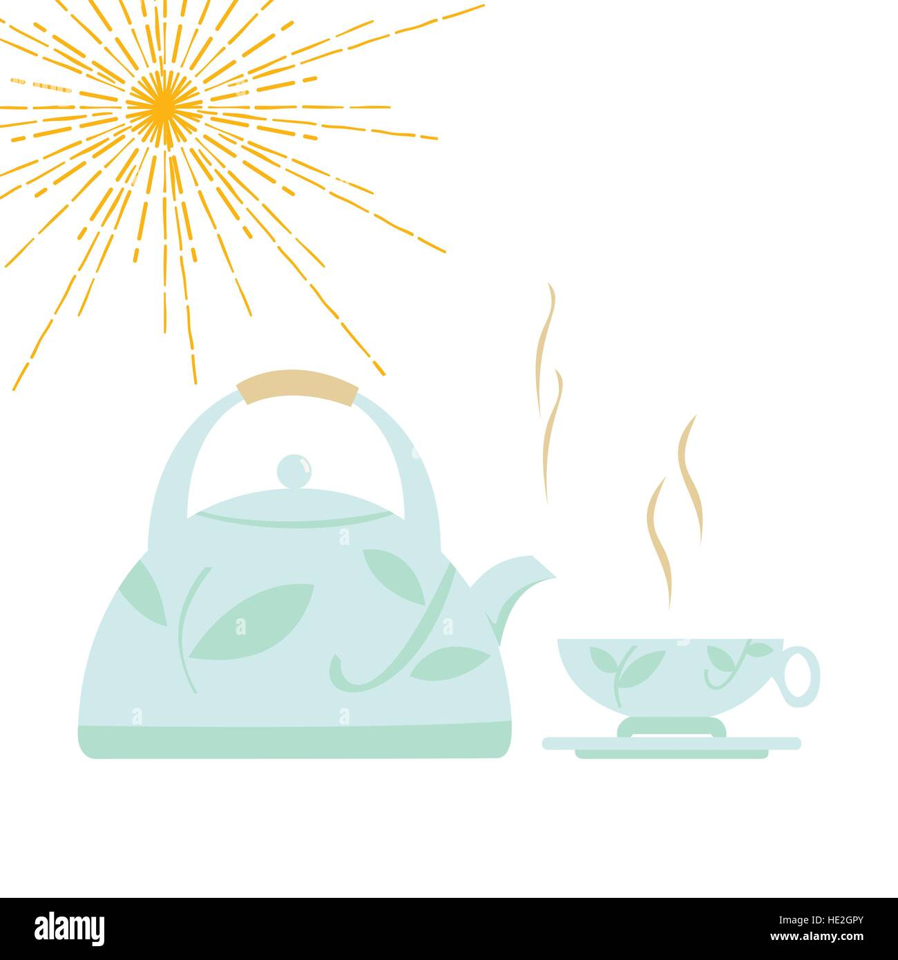 Cartoon kettle with boiling water and a cup. Vector illustration. - Stock Image