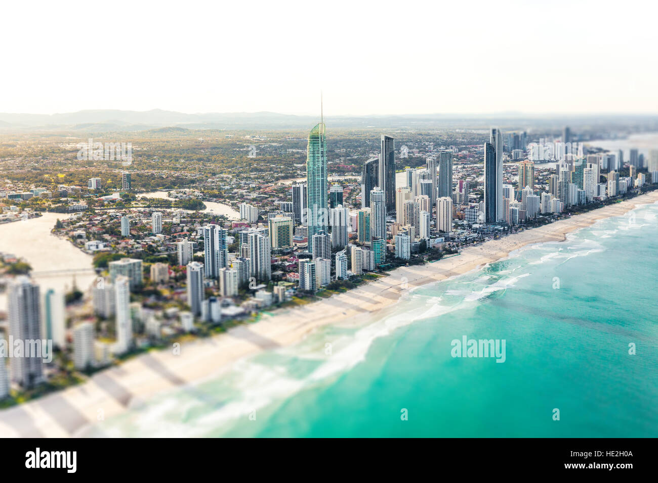 SURFERS PARADISE, AUS - SEPT 04 2016 Aerial view of Surfers Paradise on the Gold Coast, Queensland, Australia - Stock Image