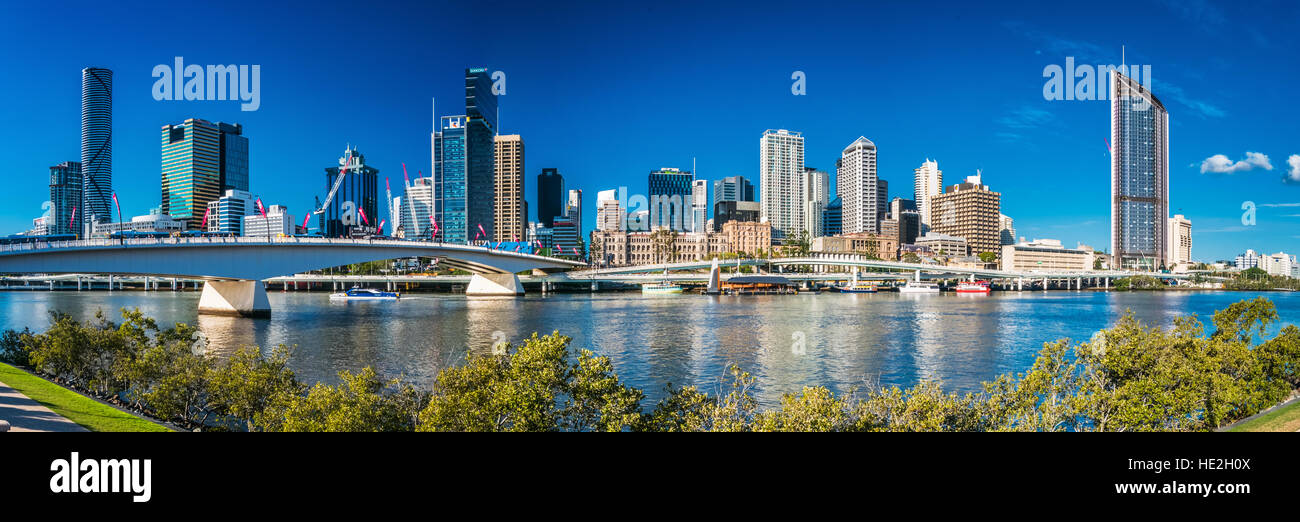 BRISBANE, AUSTRALIA, SEPT 13 2016:View of Brisbane from South Bank over the river. Brisbane is the capital of QLD - Stock Image