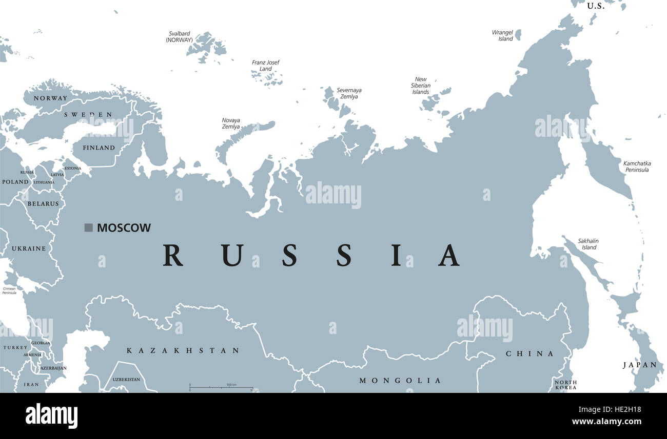 Russia political map with capital Moscow, national borders and Stock ...