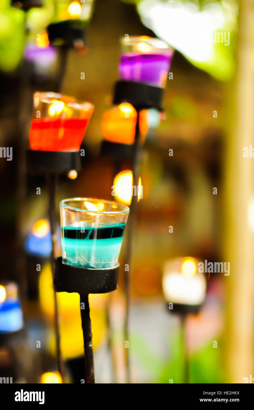 Candle in a market in Thailand Stock Photo