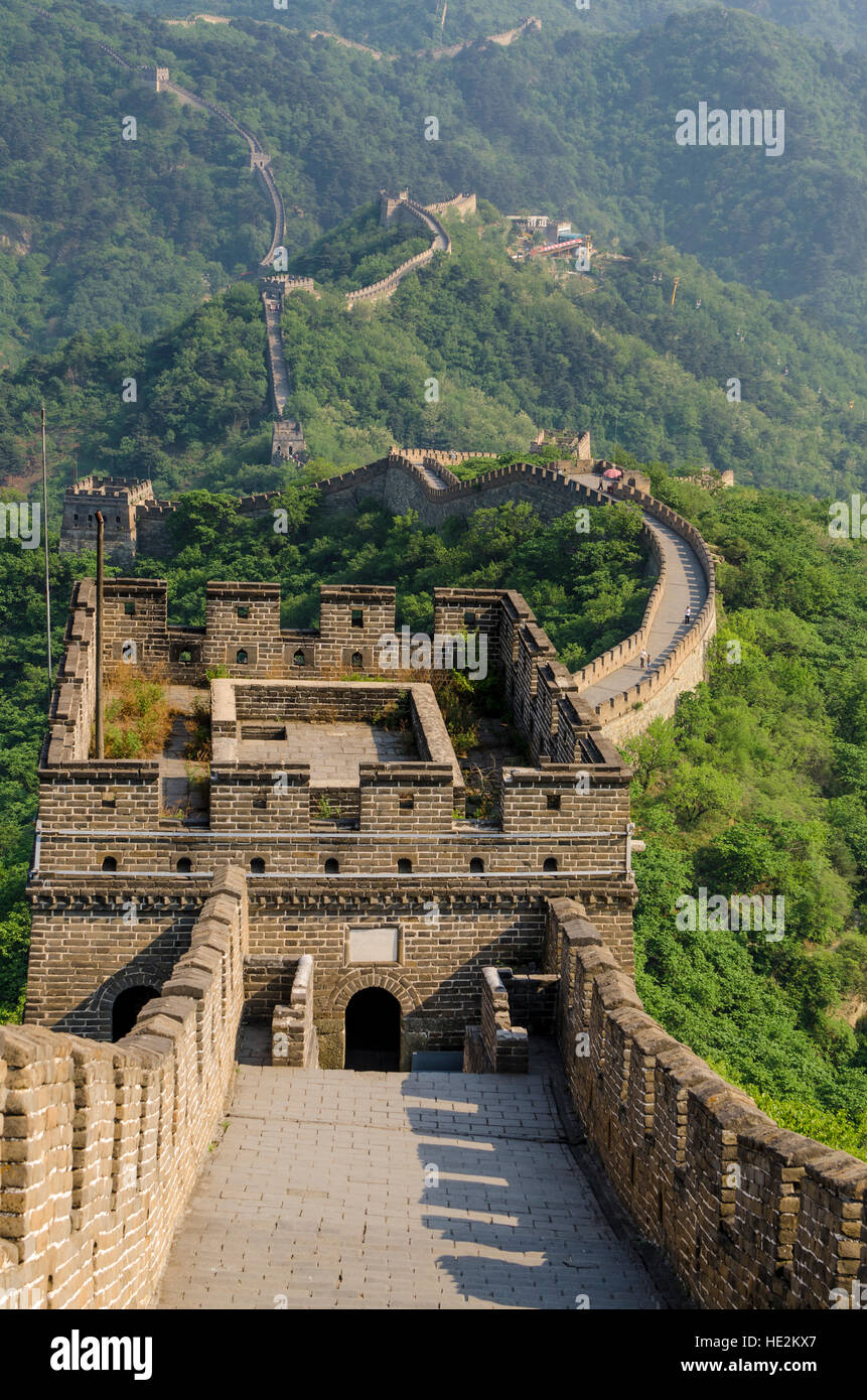 The original Mutianyu section of the Great Wall, Beijing, China. - Stock Image
