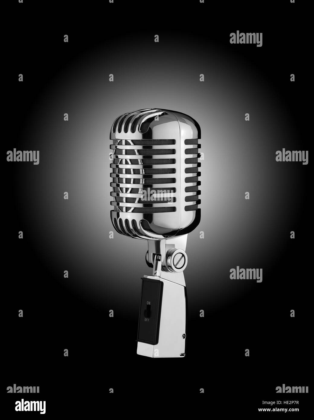 Retro Microphone isolate on background - Stock Image