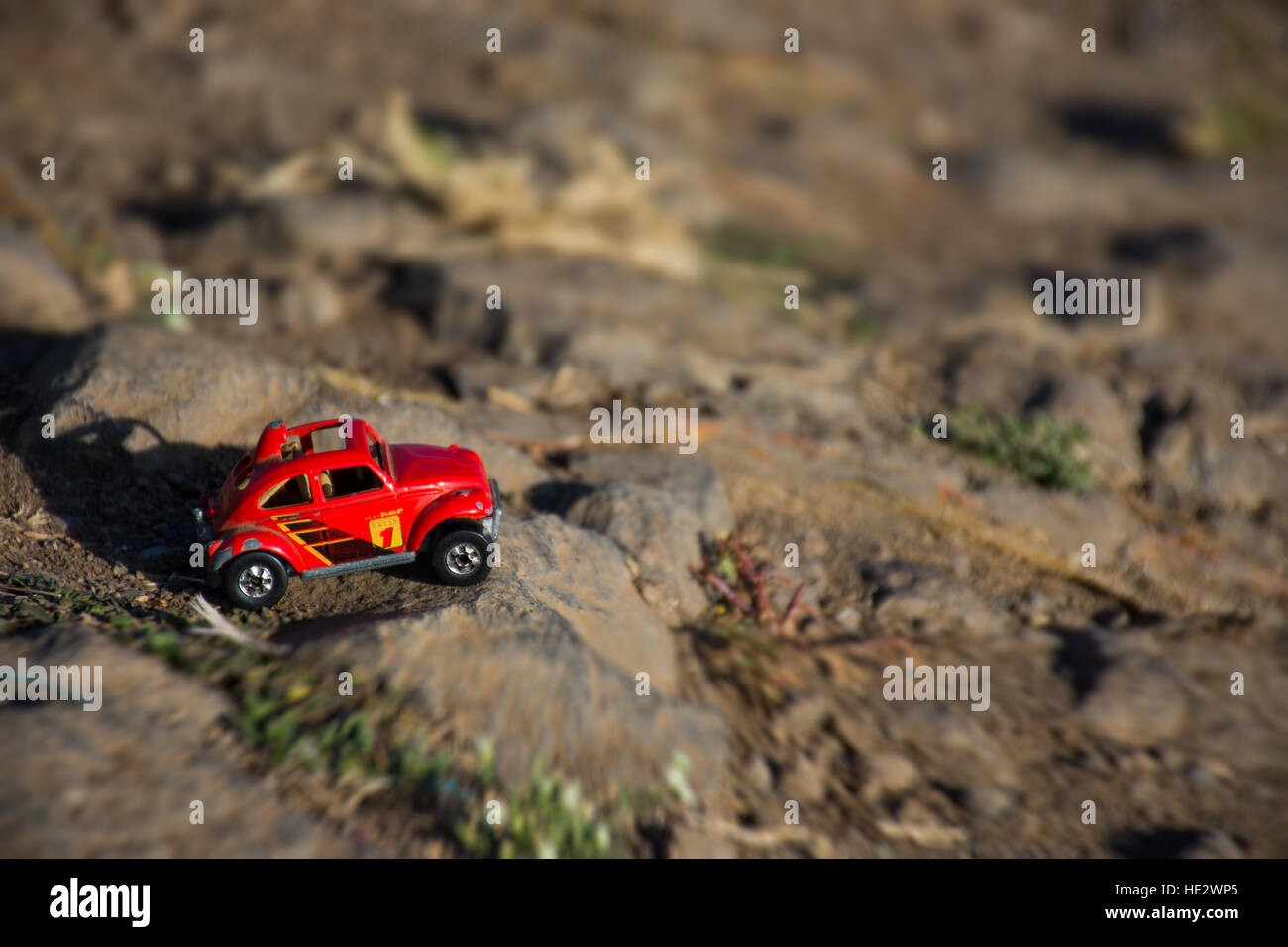 Miniature photo of a toy car Stock Photo
