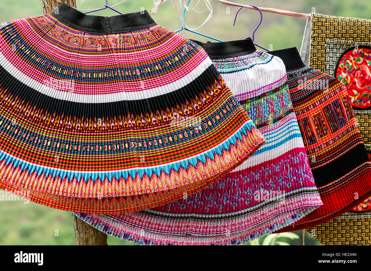 Woven traditional wool skirts dresses Longsheng Longji Dragon Spine Rice Terraces paddies Longsheng, guilin, Guangxi, - Stock Image
