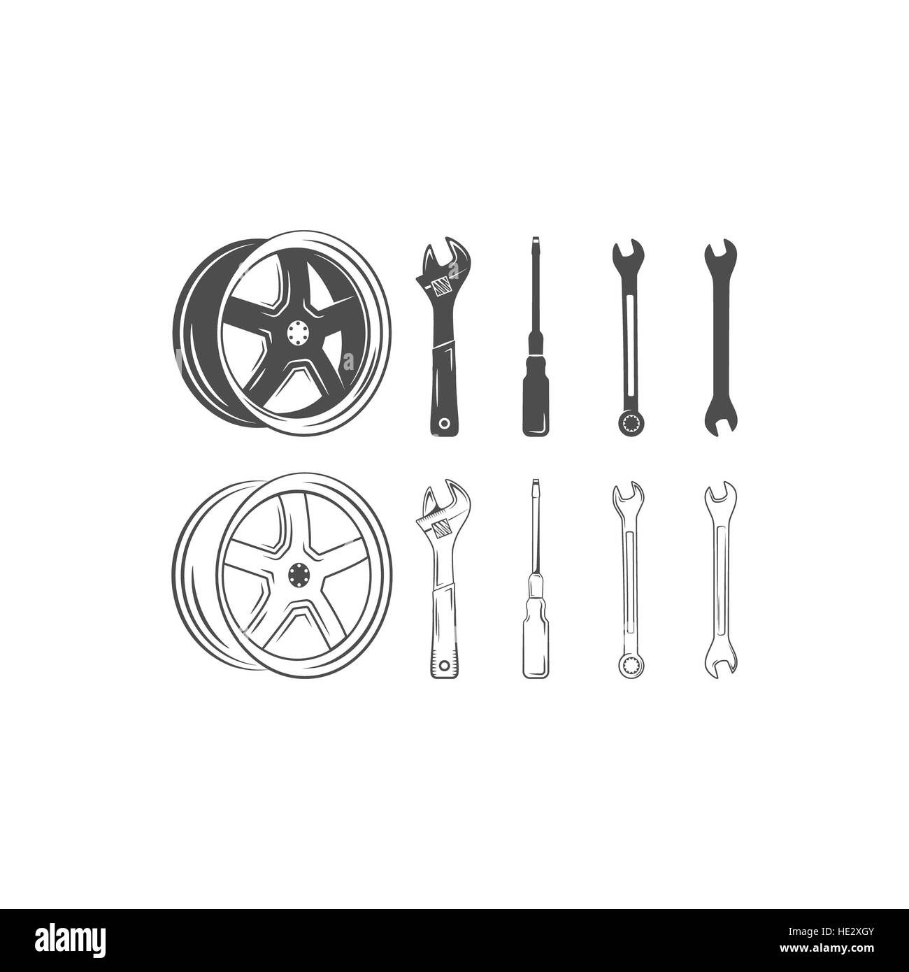 Set of car service tools and tire isolated on a white background ...