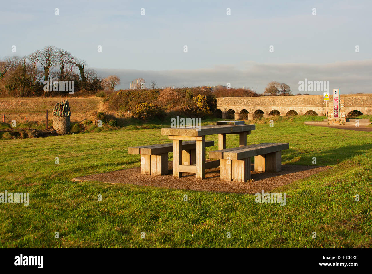 Picnic area at the National trust nature reserve at Murlough outside Dundrum Co Down - Stock Image