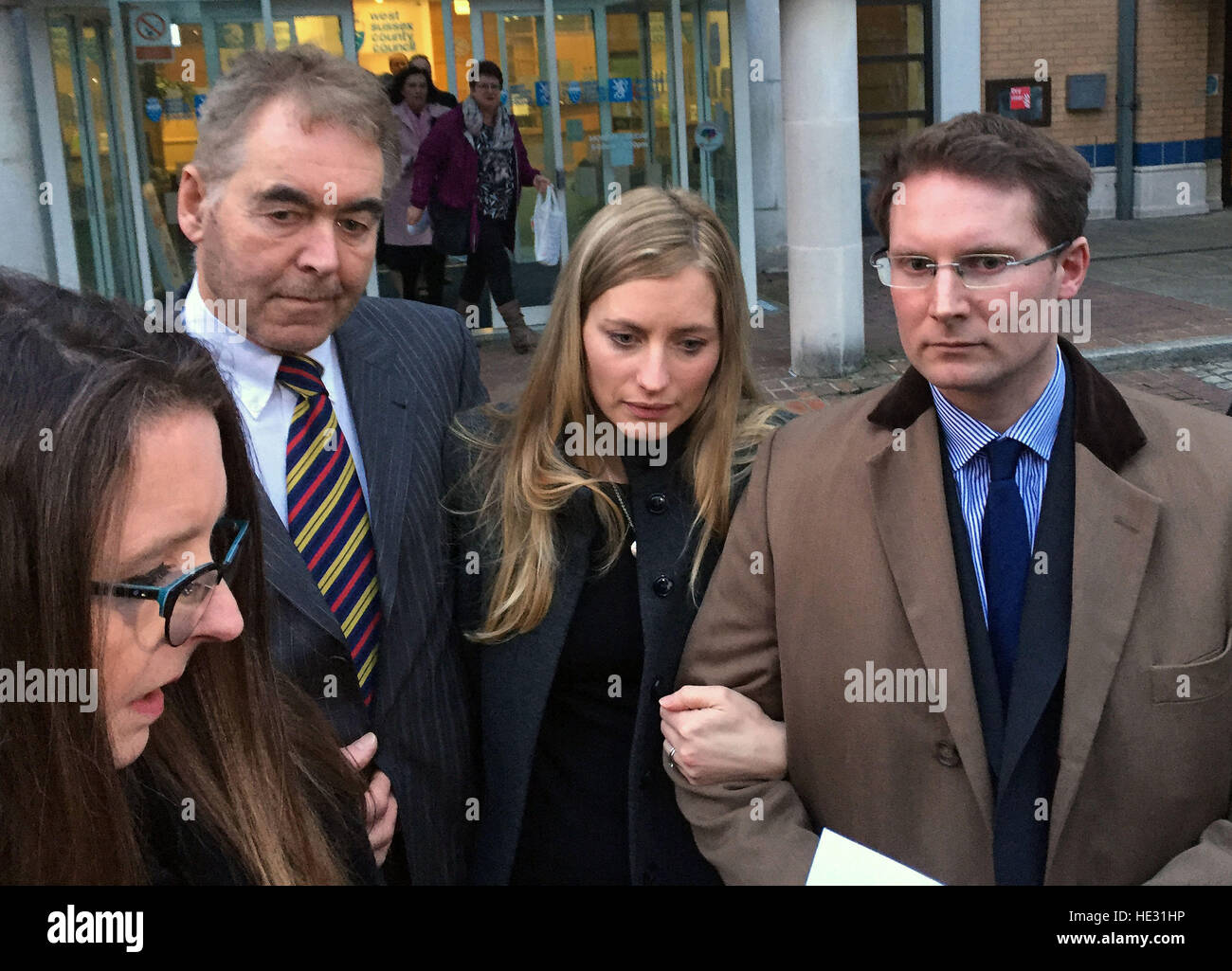 Parents of Grace Roseman, Esther (centre) and Gideon Roseman, supported by Esther's father David Waite (left), - Stock Image