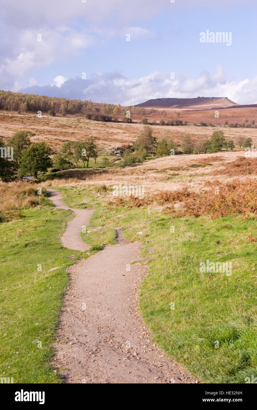 Moorland scenic : view of Carl Wark from the Longshaw Estate, Peak District, Derbyshire, UK - Stock Image