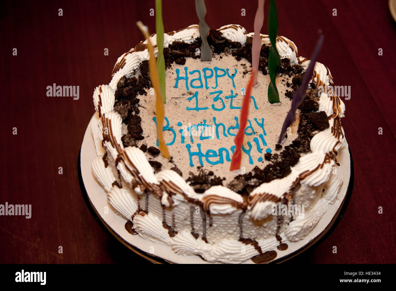 Decorative Happy Birthday Cake With Candles For A 13 Year Old Boy St Stock Photo Alamy