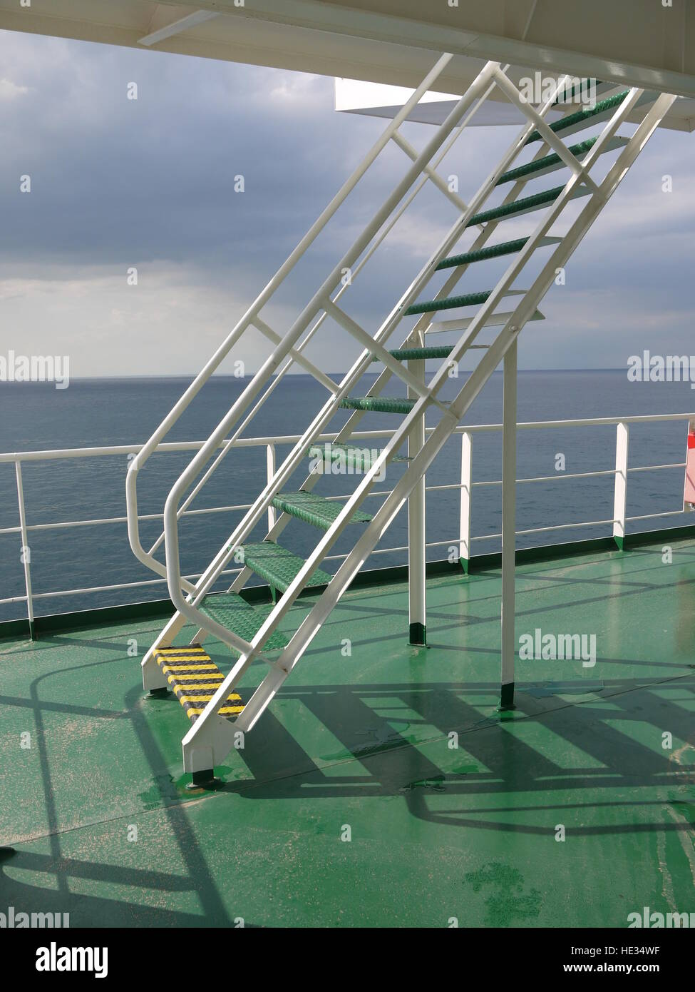 Outdoor Stairs On The Deck Of A Ship At Sea