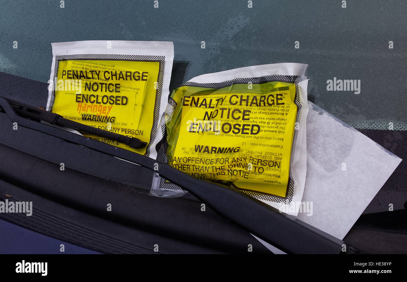 Haringey Council's parking ticket on car windscreen, London, England, UK - Stock Image