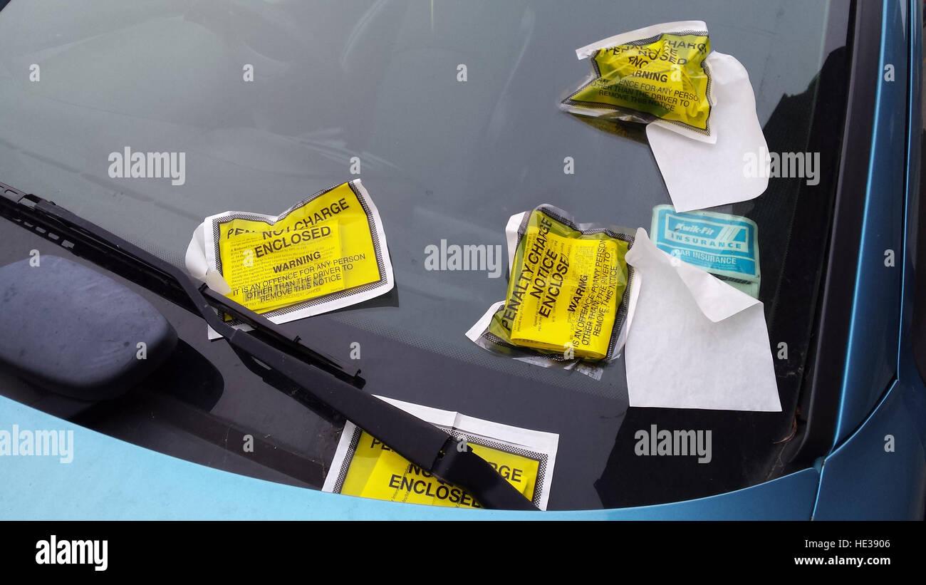 Haringey Council's parking ticket on car windscreen, London, England, UK - Stock Image