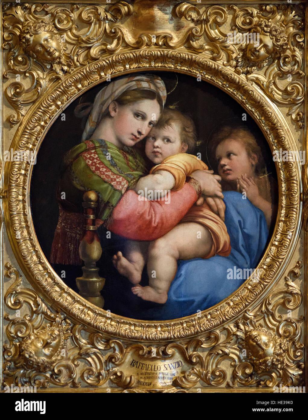 Raphael - Raffaello Sanzio da Urbino (1483-1520), La Madonna della Seggiola aka Madonna of the Chair, ca. 1513-1514. Stock Photo