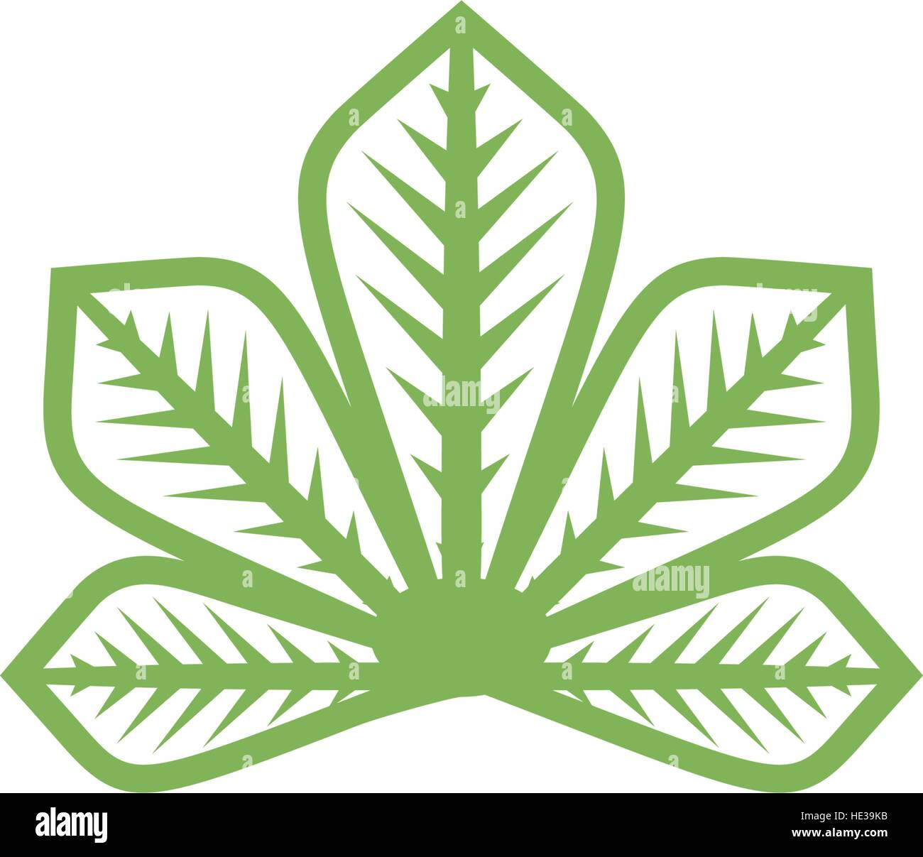 Isolated abstract flat green color logo. Chestnut tree leaf on white ...