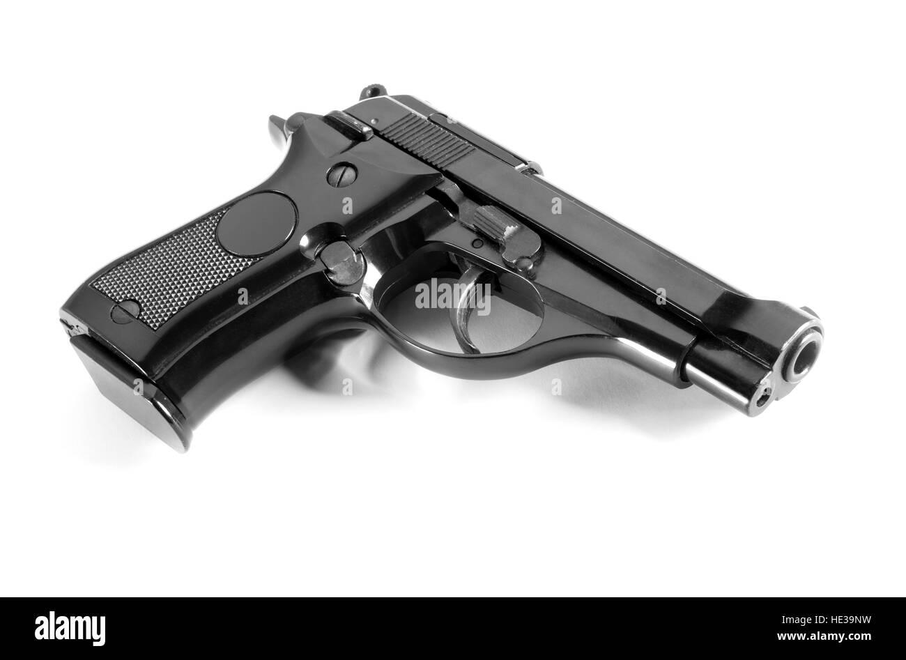 Black automatic handgun - Stock Image