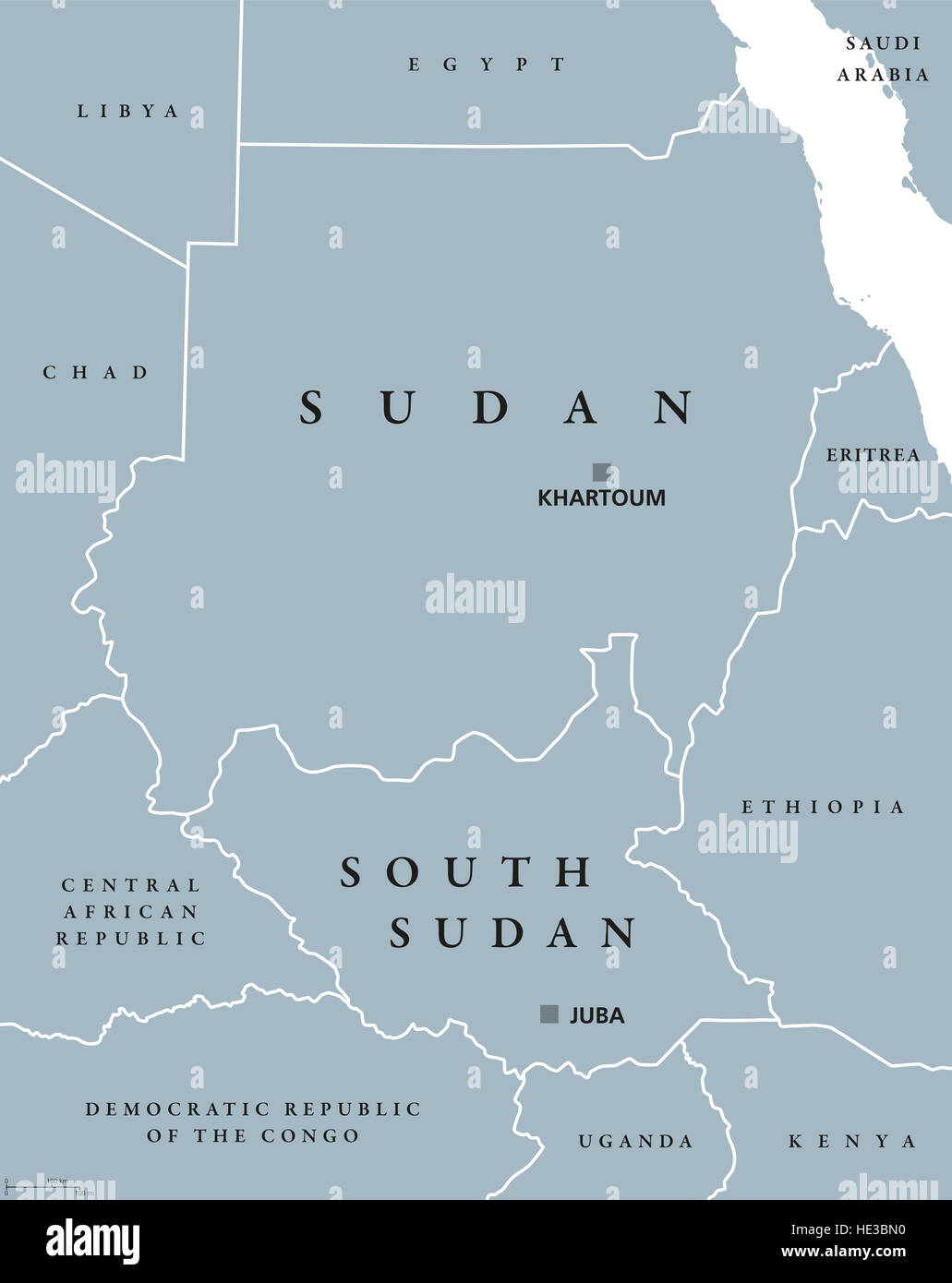Sudan and South Sudan political map with capitals Khartoum and Juba