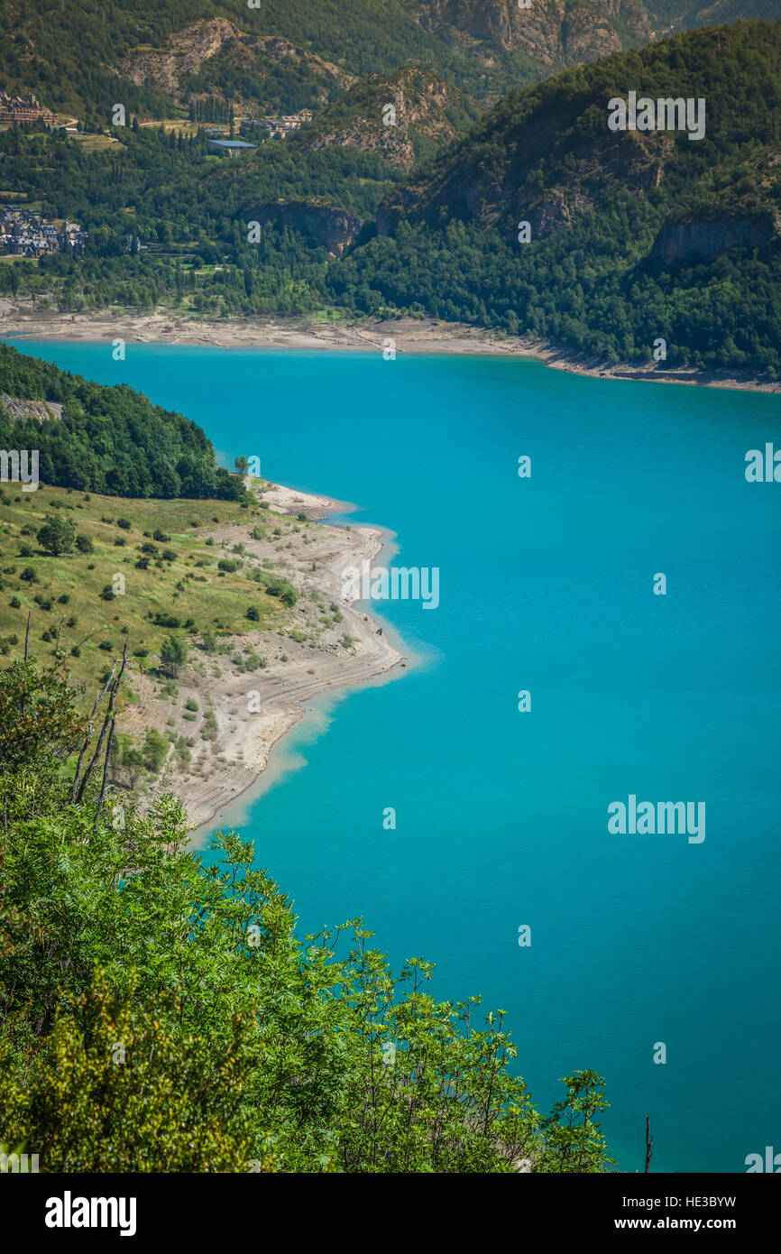 Bulbal Reservoir, also called Swamp Bubal is a reservoir located in the Spanish Pyrenees Valle de Tena (Huesca). Stock Photo