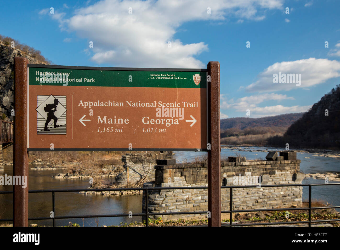 Harpers Ferry, WV - A sign for the Appalachian Trail where the trail crosses the Potomac River. - Stock Image