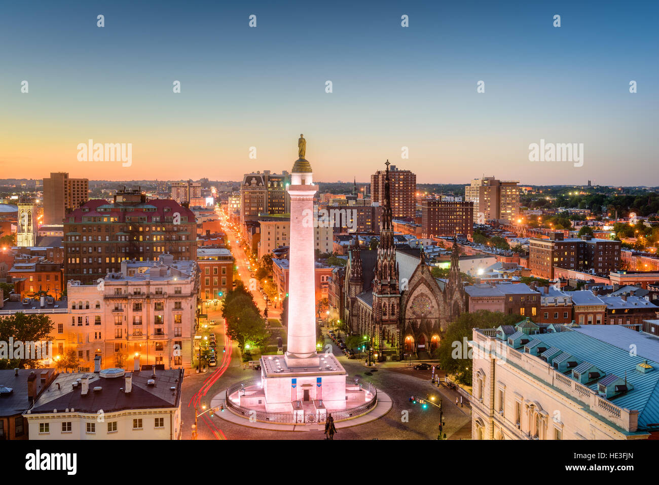 Baltimore, Maryland, USA cityscape at Mt. Vernon and the Washington Monument. - Stock Image